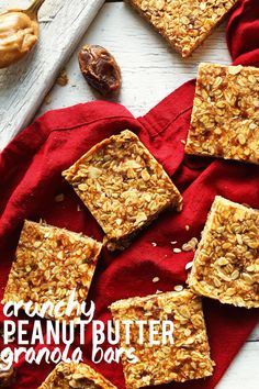 THE BEST Peanut Butter Granola Bars! 8 ingredients, naturally sweetened and SO crunchy and delicious! #vegan #glutenfree #peanutbutter