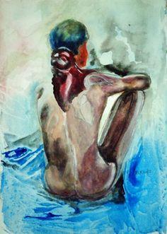 Üldögélő. Akvarell, papír, 45,5x30,5cm.