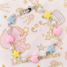 SALE 25 OFF Sweet Lolita Bracelet Pastel Stars Hearts Pearls by blacktulipshop, $6.00 #fairykei