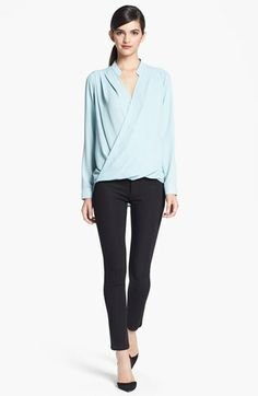 Ro & De Long Sleeve Surplice Top available at #Nordstrom, this would work after I get a job...