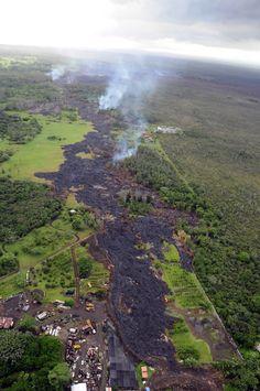 Pahoa lava flow aerials 2014