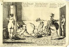 British museum, satirical print 1805. The tightness of the new fashions is critiqued.