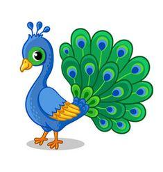 Cute Cartoon Drawings, Art Drawings For Kids, Outline Drawings, Bird Drawings, Drawing For Kids, Easy Drawings, Animal Drawings, Art For Kids, Peacock Drawing