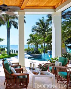 Vintage reeded furniture is on standby when shade is needed after a dip in the pool. - Photo: Robert Brantley / Design: Gary McBournie - Luxury Home Outdoor Rooms, Outdoor Living, Outdoor Decor, Coastal Homes, Coastal Living, Porches, Villa, Dream Beach Houses, Winter House