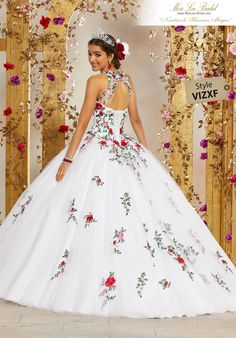 STYLE: 34006 Fit for a Princess, This Tulle Quinceañera Ballgown Features a Beautifully Embroidered High Neck Bodice. A Full Tulle Skirt Trimmed Accented with Floral Embroidery Completes the Look. Tulle Ball Gown, Ball Dresses, Ball Gowns, Dresses Dresses, Dresses Online, Formal Dresses, Sweet 15 Dresses, Pretty Dresses, Sparkly Dresses