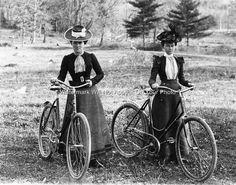 New York Schenectady Victorian Era Dresses Ladies Hats Bonnets Old Bicycle Photo