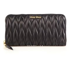 Miu Miu Matelasse Leather Zip Continental Wallet ($675) ❤ liked on Polyvore