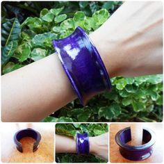 Wood Bangle Bracelet Eco-friendly Purple Natural Jewelry Handmade | GoldenWorld - Jewelry on ArtFire