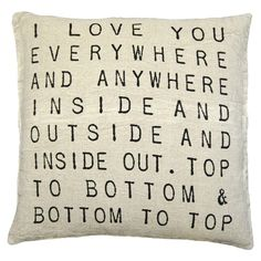 Sugarboo Designs I Love You Everywhere and Anywhere Linen Pillow