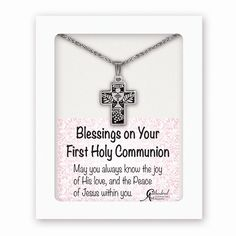 Silver-tone Antiqued Cross 1st Communion 13in w/1.25ext Necklace