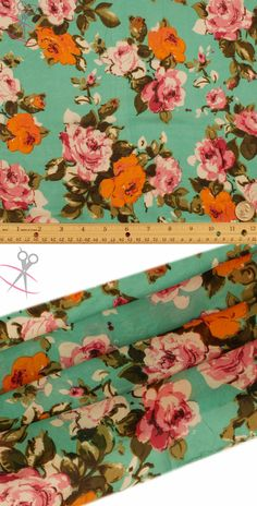 Groups of detailed and classically drawn roses live vibrantly on this Navy Hi Multi Chiffon backdrop. The roses are Off White, Ivory, Fuchsia, Pink, & Orange. The stems are Water Cress, Olive, Light Green & Black. Hi Multi Chiffon is a lightweight, stylish and free flowing fabric. It is a great material for layered dresses, blouses, scarves, wraps, DIY hairpieces, even chair decorations and much more!