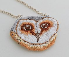 Hand Embroidered Barn Owl Necklace
