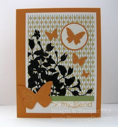 """Stamps: My Friend  Ink: Versamark, Peach Parfait  Card Stock: Peach Parfait, Whisper White, Pear Pizzazz  Designer Series Paper: Pocketful of Posies   Punches: 1-1/4"""" Circle, 1-3/8"""" Cirle  Big Shot: Beautiful Wings Embosslit die  Accessories: Heat Tool, Powder Pals, Embossing Buddy, Black embossing powder"""