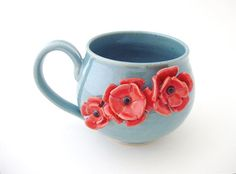 Made to Order Handmade Whimsical Poppy Mug by AbbyTPottery on Etsy, $48.00