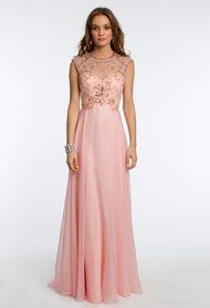 Iridescent Beaded Chiffon Dress with Illusion from Camille La Vie and Group USA
