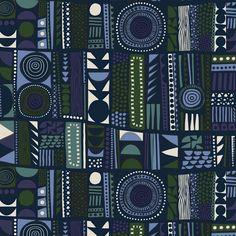 Njalla Cotton Fabric in blue, green, light grey Textile Patterns, Print Patterns, Textiles, Marimekko, Surface Pattern Design, Abstract Pattern, Scandinavian Design, Cotton Fabric, Hand Painted