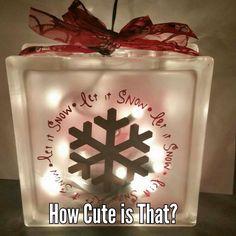 "Glass Block Light ""Let It Snow"""
