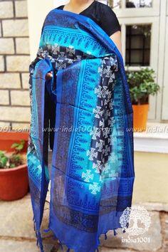 Designer Tussar Munga Dupatta with Block Print