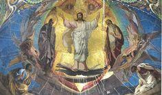 """""""De Heiland steekt na Goede Vrijdag als Eerste de Doods-Jordaan over """". Kerk van de Wederopstanding van Jezus Christus in St-Petrusburg."""