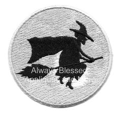 Witch - Halloween - Full Moon - Embroidered Iron On Applique Patch - Right