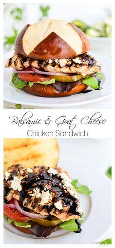 Balsamic and Goat cheese Chicken Burger   Garnish and Glaze