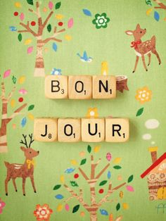 Bonjour Photograph. Art Print. French Word Wall by happeemonkee Wonder where the background is from...!