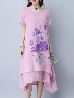 Shop Casual Dresses - Pink Casual Asymmetrical Casual Dress online. Discover unique designers fashion at PopJuLia.com.