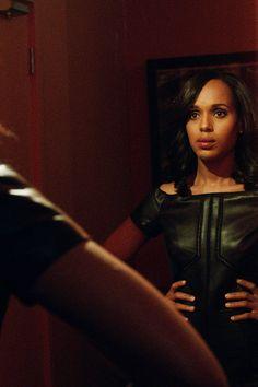 """J Mendel"" Off The Shoulder Leather Dress worn by Olivia Pope (Kerry Washington) on Scandal, Season 4."