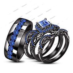 2.70 Carat Princess & Round Trio Ring Set in 14K Black Gold Finish Blue Sapphire #beijojewels #WeddingEngagementAnniversaryBrithdayPartyGift