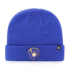 hot sale online eb306 9cd5e Milwaukee Brewers 47 Brand Blue Raised Cuff Knit Beanie Hat