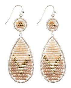 Beaded Double-Drop Earrings, Cream/Gold by Nakamol at Neiman Marcus.
