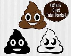 Poop Emoji SVG File Cutting Template, Clip Art for Commercial and Personal Use, files for Cricut, svg files for silhouette, vector, emoji