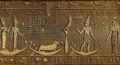 Relief of Orion and Sirius Orion and Sirius on the Dendera zodiac. Second figure from right represents Orion. Sirius is portrayed as a kneeling cow with a star between its horns. Life In Ancient Egypt, The Ancient One, Ancient Aliens, Ancient Art, Ancient History, Egyptian Mythology, Egyptian Art, Egypt Museum, Ancient Civilizations