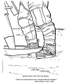 neil armstrong first step on the moon picture and coloring pages for kid