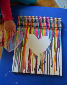 Melted crayon canvas art