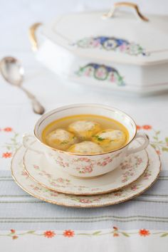 "Chicken Broth with Potato ""Klotski"", or Dumplings"