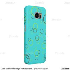 Lime and brown rings on turquoise blue samsung galaxy s6 cases