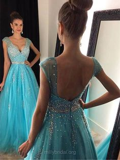 Deep V Neck A-line Tulle Prom Dress with Cap Sleeves, Light Blue Floor Length Prom Dress, Low Back Crystal Beaded Prom Dress with Belt