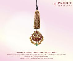 A beautiful piece of ornament to add on to the Princess's beauty from Prince Jewellery Coming soon at Coimbatore. #PrinceJewellery #Jewellery #Prince #Princess #EveryWomanisaPrincess #Earring #Necklace #Bangle #Chain #Gold #Nethichutti