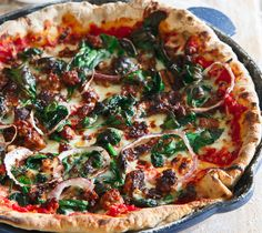 "lustingfood: ""WHOLE WHEAT CHORIZO SPINACH SKILLET PIZZA """