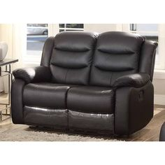 Bennett Black Leather Reclining Loveseat - 17897349 - Overstock.com Shopping  sc 1 st  Pinterest & Frisco Leather Gliding Reclining Loveseat | Furniture.com $664.99 ... islam-shia.org