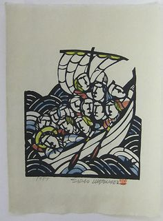 Sadao Watanabe Christ in Boat with Disciples  Artist:	Sadao Watanabe Description:	  Issued:	1985 Medium:	Color Stencil Edition:	 Condition:	excellent Image Size:	13 X 9 inches Canvas Size:	 Signed:	stamped in black Sadao Watanabe Sealed:	in red
