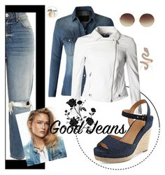 """Denim Look"" by wildmoonchild ❤ liked on Polyvore featuring River Island, LE3NO, Giorgio Armani, Tommy Hilfiger and Linda Farrow"