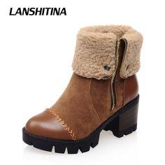 eb88c391c Lanshitina/женские ботильоны обувь на квадратном каблуке короткие Мех  животных молния загрузки Обувь для отдыха на платформе Сапоги и ботинки для  девочек ...