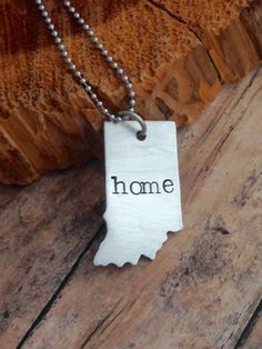 Indiana Necklace, Indiana Home Jewelry, Hand Stamped Indiana Necklace, Hoosier State, Handstamped Home Necklace by Eternally29 on Etsy