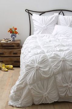 Rosette Bedding, White. Anthropologie
