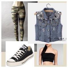 Outfits with jean jacket, camouflage leggings, converse and a crop top (: