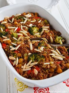 Creamy Vegan Broccoli and Rice Casserole...had this at church tonight for a covered dish dinner...it was super yummy!