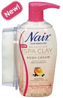 Nair® Brazilian Spa Clay Body Cream - I hate shaving so this new rinse resistant in-shower hair removal spa clay seems like it will be the ticket for smooth legs without the razor or having to wait for a cream to work before you can get in the shower! It works and doesn't smell like perm!