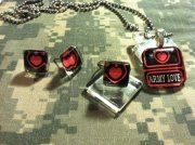 "$25 ""Army Love"" glass tile set. Necklace, earrings and ring"